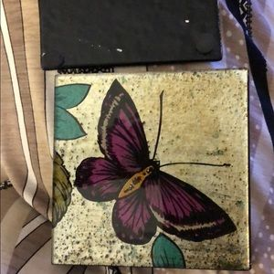 Butterflies coasters made in glass in the box